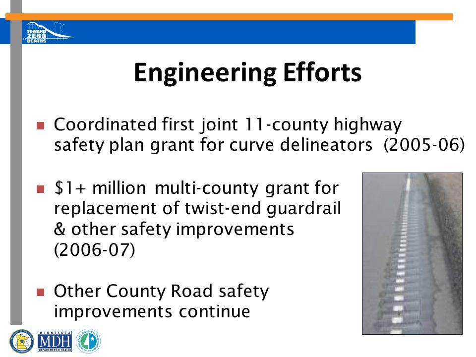 Engineering Efforts Coordinated first joint 11-county highway safety plan grant for curve delineators (2005-06) $1+ million multi-county grant for replacement of twist-end guardrail & other safety improvements (2006-07) Other County Road safety improvements continue