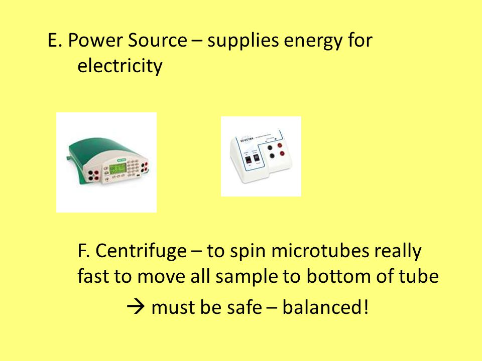 E. Power Source – supplies energy for electricity F.