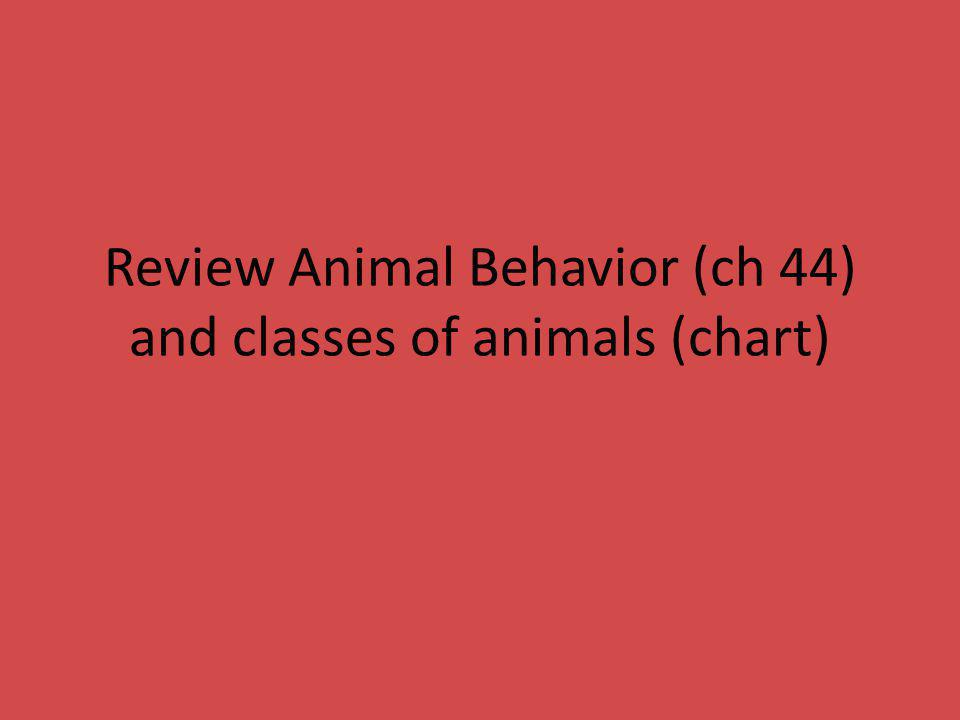 Review Animal Behavior (ch 44) and classes of animals (chart)