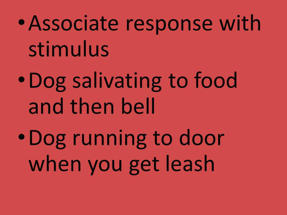 Associate response with stimulus Dog salivating to food and then bell Dog running to door when you get leash