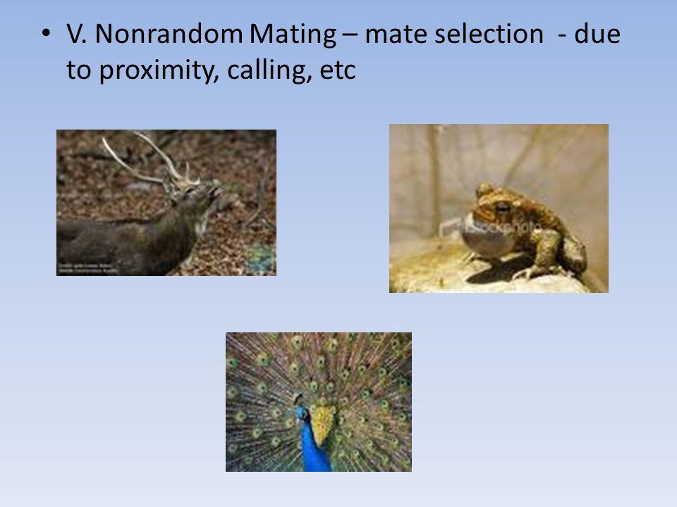 V. Nonrandom Mating – mate selection - due to proximity, calling, etc