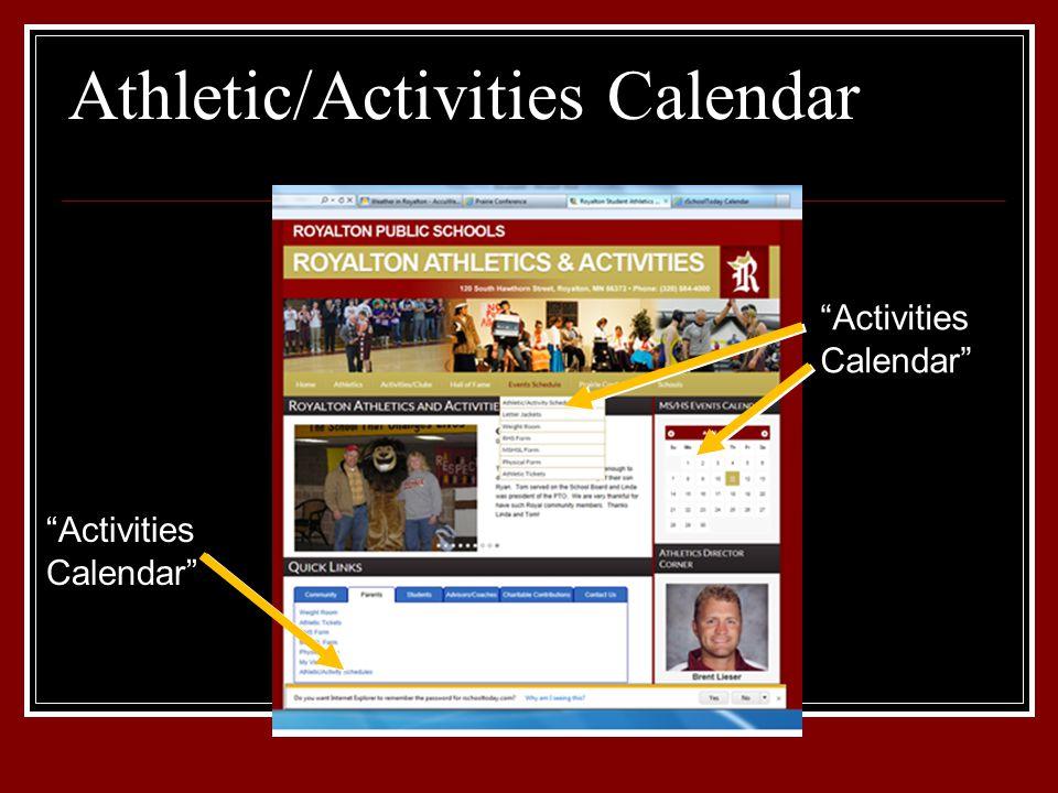 "Athletic/Activities Calendar ""Activities Calendar"""
