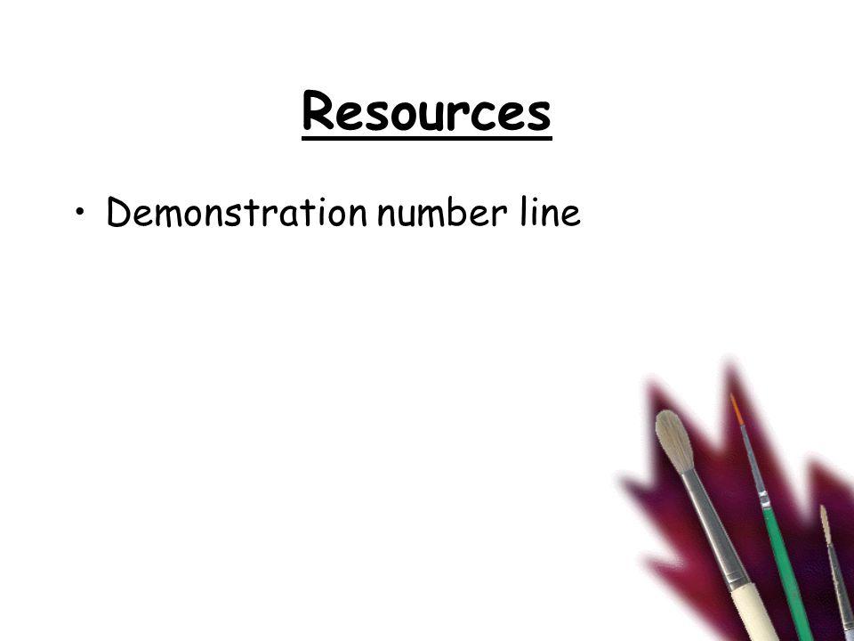 Resources Demonstration number line
