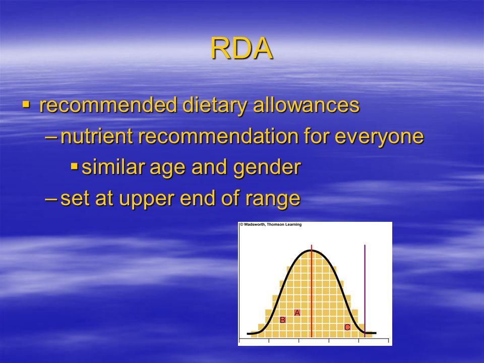 EAR  estimated average requirements –used to establish RDA