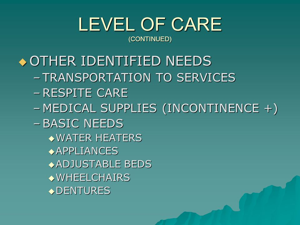 LEVEL OF CARE (CONTINUED)  OTHER IDENTIFIED NEEDS –TRANSPORTATION TO SERVICES –RESPITE CARE –MEDICAL SUPPLIES (INCONTINENCE +) –BASIC NEEDS  WATER HEATERS  APPLIANCES  ADJUSTABLE BEDS  WHEELCHAIRS  DENTURES
