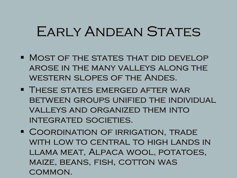 Early Andean Societies  There is no evidence to suggest that Chavin cultural and religious beliefs led to the establishment of a state or organized political order.