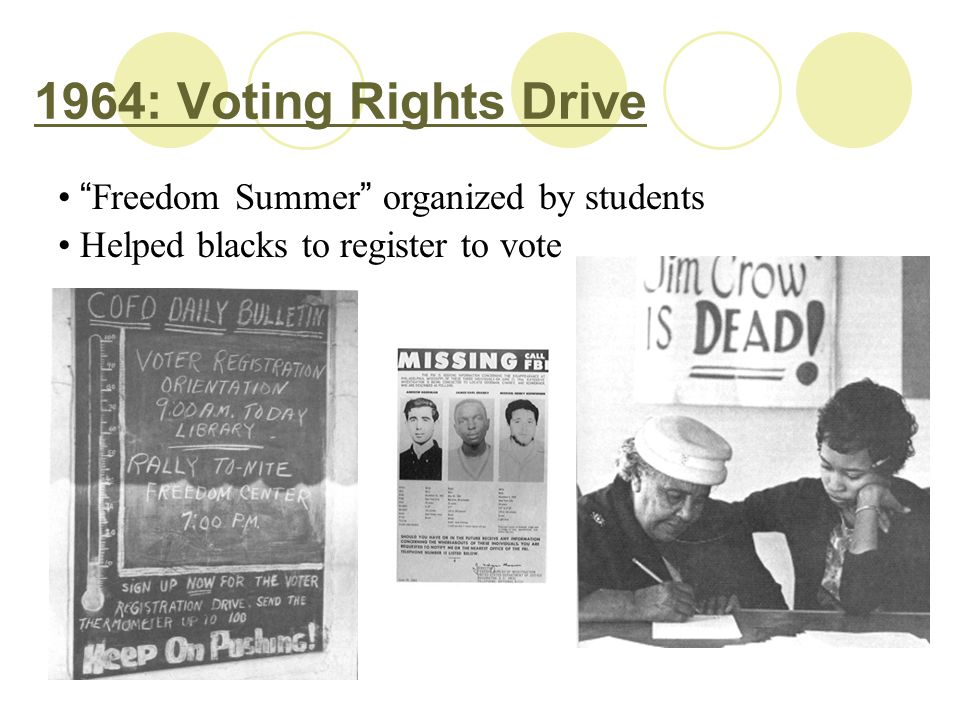 "1964: Voting Rights Drive "" Freedom Summer "" organized by students Helped blacks to register to vote"