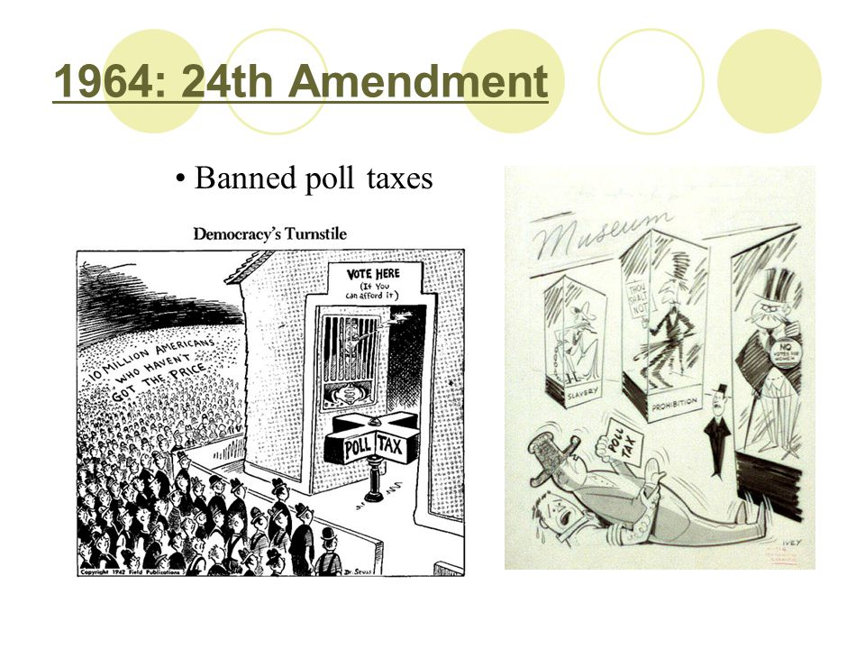 1964: 24th Amendment Banned poll taxes