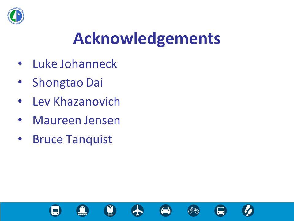 Luke Johanneck Shongtao Dai Lev Khazanovich Maureen Jensen Bruce Tanquist Acknowledgements