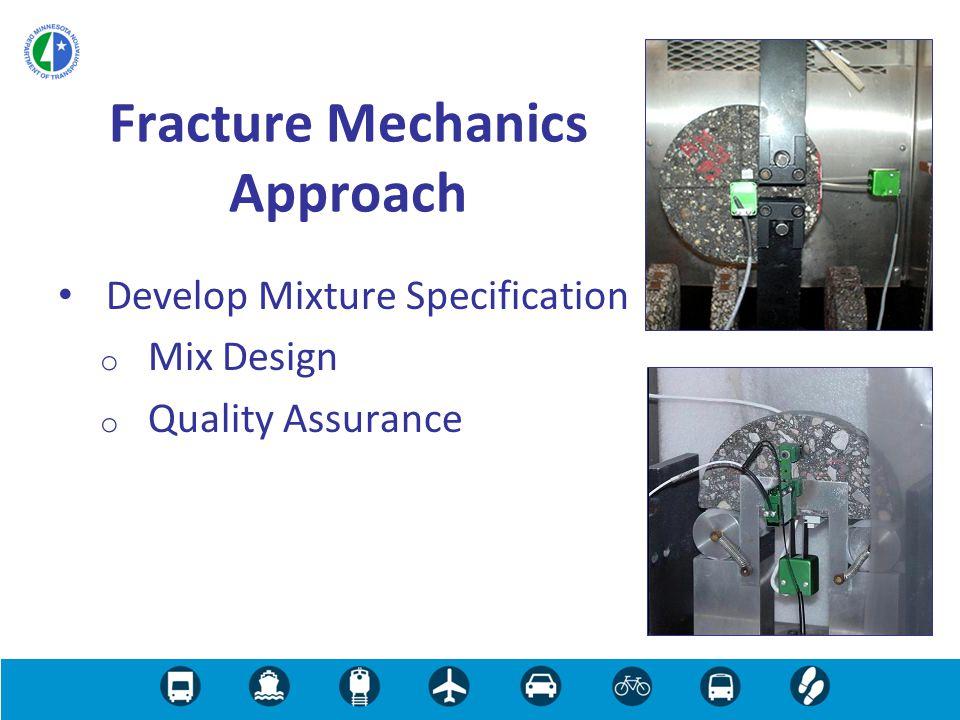 Develop Mixture Specification o Mix Design o Quality Assurance Fracture Mechanics Approach