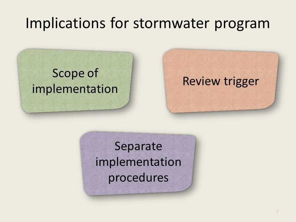 Implications for stormwater program 7