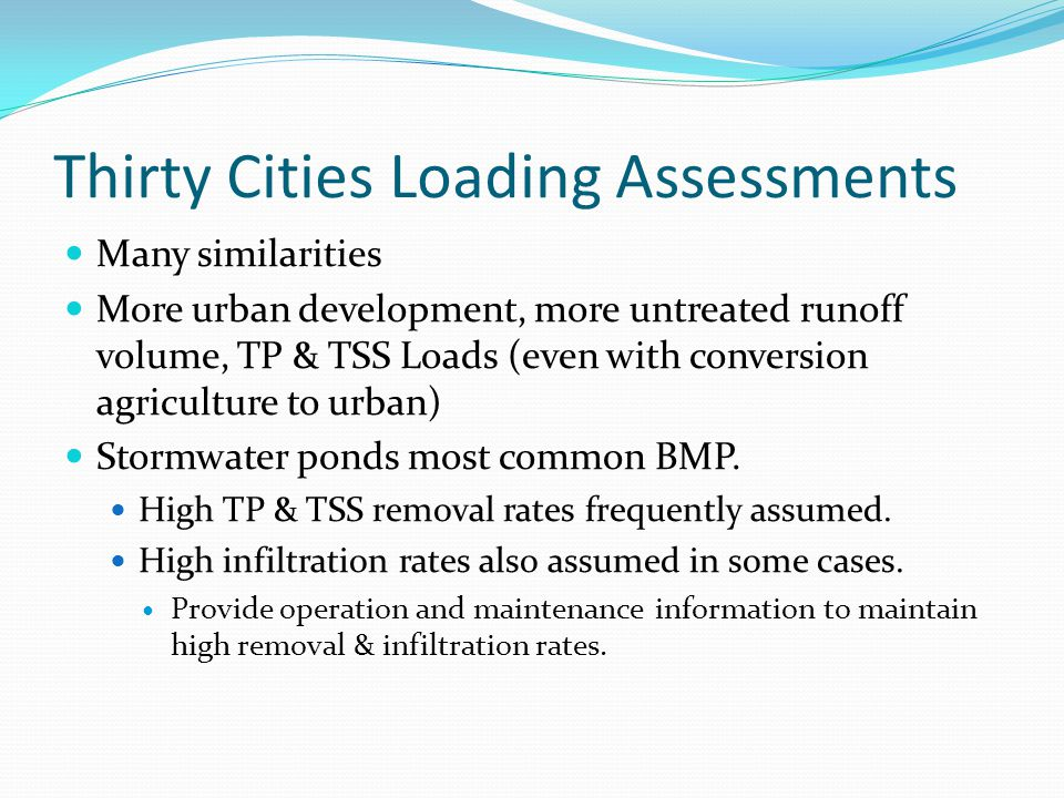 Thirty Cities Loading Assessments Many similarities More urban development, more untreated runoff volume, TP & TSS Loads (even with conversion agriculture to urban) Stormwater ponds most common BMP.