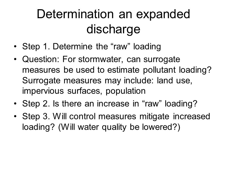 Determination an expanded discharge Step 1.