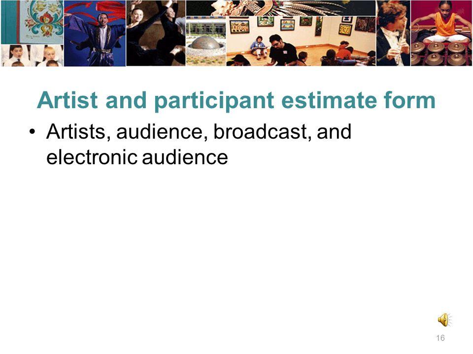 Project outcomes form (continued) Publicity statement Applicant project outcomes Outcome evaluation Arts Board program outcomes 15