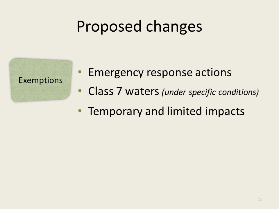Exemptions Proposed changes Emergency response actions Class 7 waters (under specific conditions) Temporary and limited impacts 15