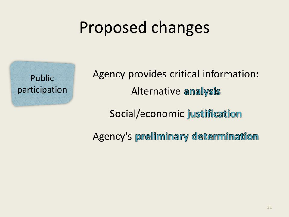 Public participation Proposed changes 21