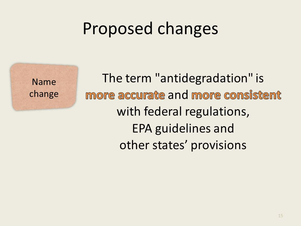 Proposed changes 15 Name change