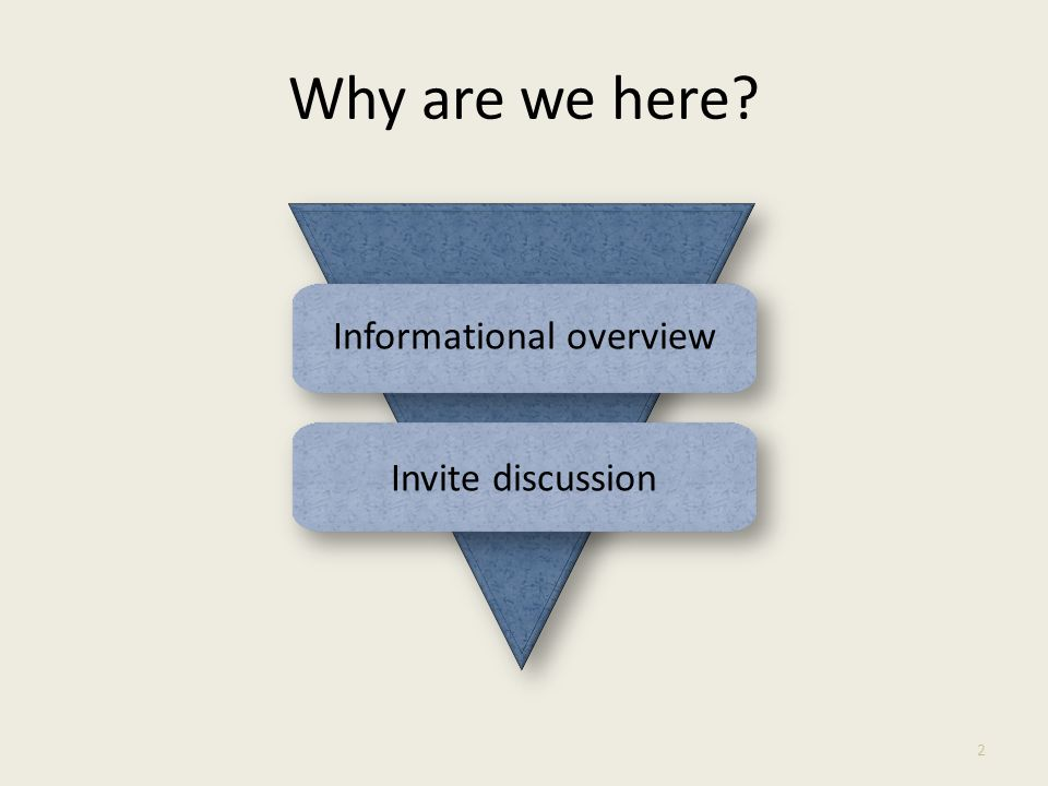 Why are we here Informational overview Invite discussion 2