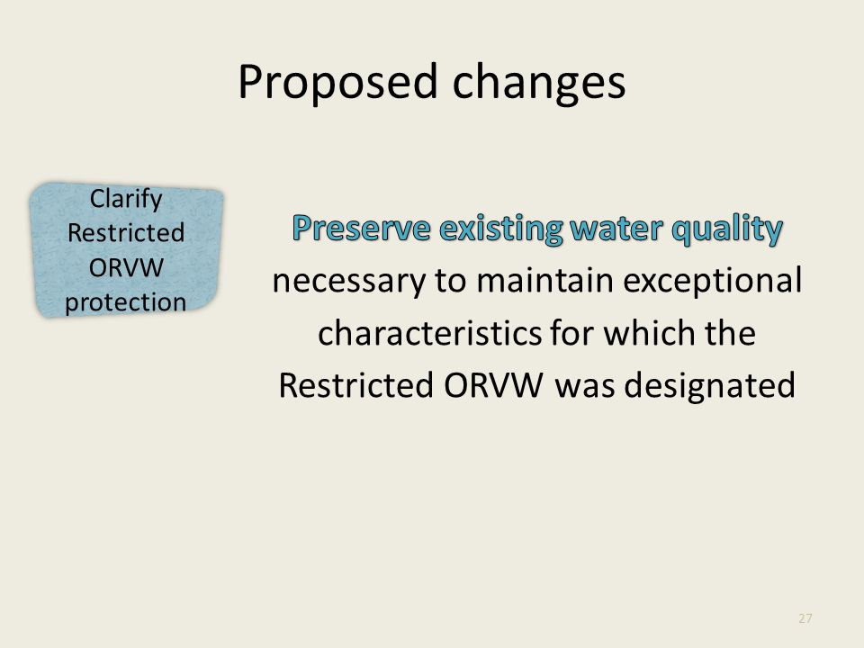 Clarify Restricted ORVW protection Proposed changes 27