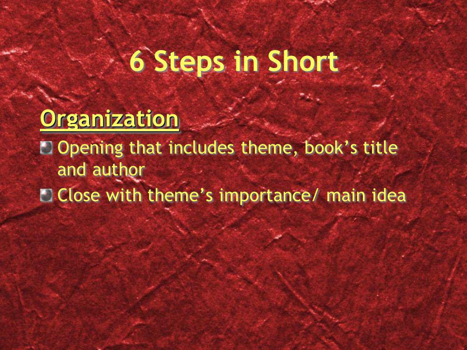 6 Steps in Short Organization Opening that includes theme, book's title and author Close with theme's importance/ main ideaOrganization Opening that includes theme, book's title and author Close with theme's importance/ main idea