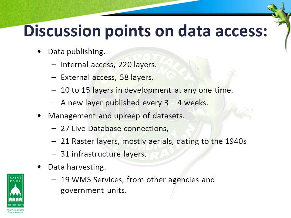 Discussion points on data access: Data publishing.
