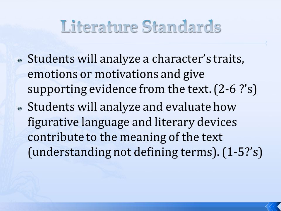  Students will respond to and analyze the effects of sound, form, figurative language and graphics in order to uncover meaning in poetry (understand the author's use of these terms and how that relates to the passage, not define the terms).