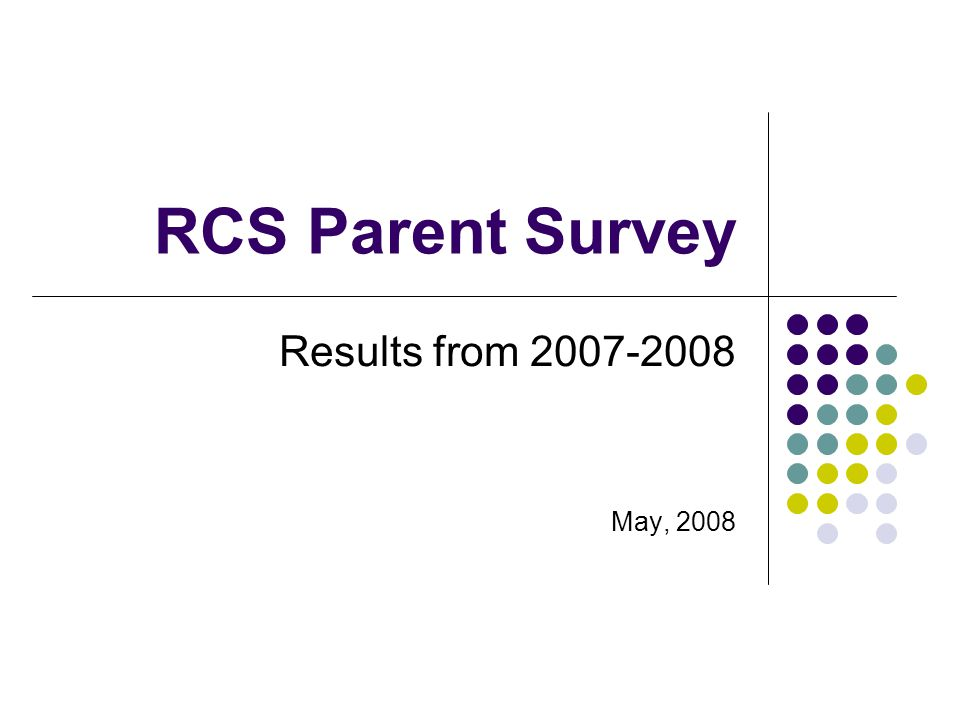 RCS Parent Survey Results from 2007-2008 May, 2008