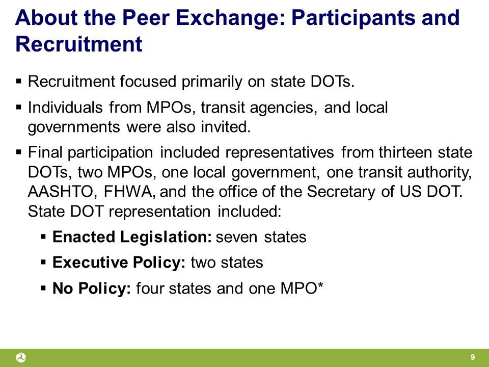 About the Peer Exchange: Participants and Recruitment  Recruitment focused primarily on state DOTs.