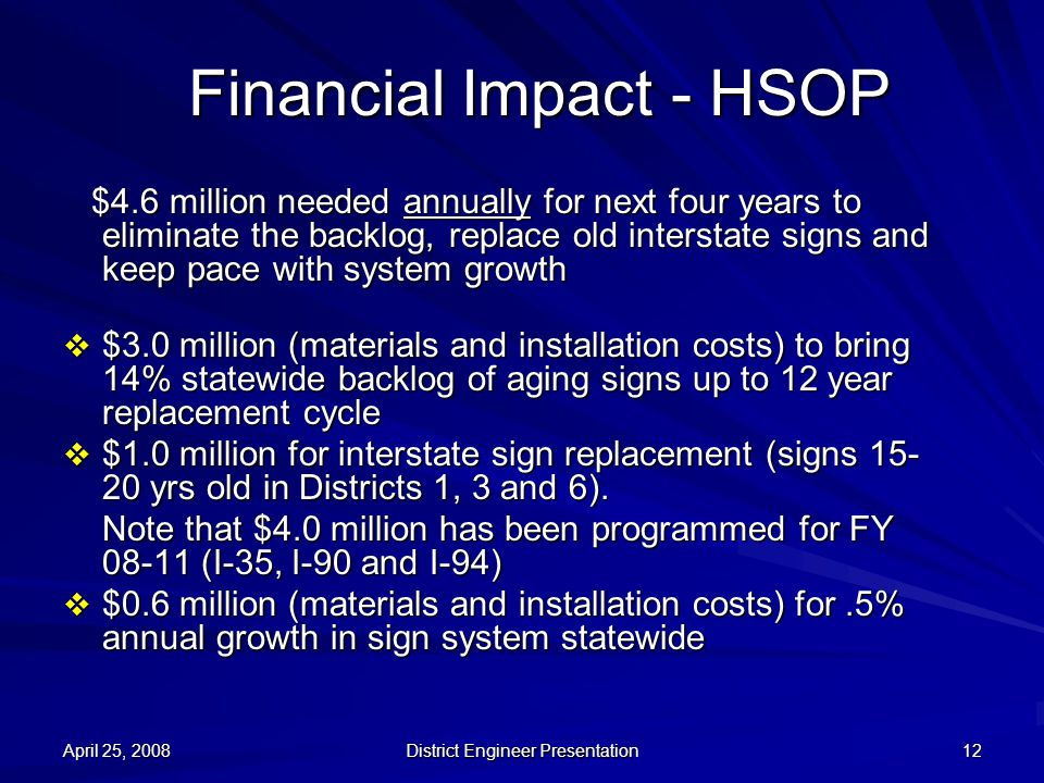 April 25, 2008 District Engineer Presentation 12 Financial Impact - HSOP $4.6 million needed annually for next four years to eliminate the backlog, re