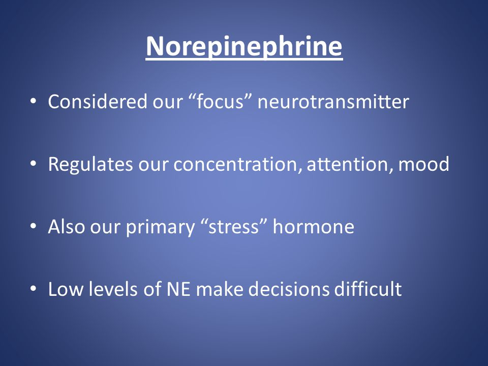 """Norepinephrine Considered our """"focus"""" neurotransmitter Regulates our concentration, attention, mood Also our primary """"stress"""" hormone Low levels of NE"""