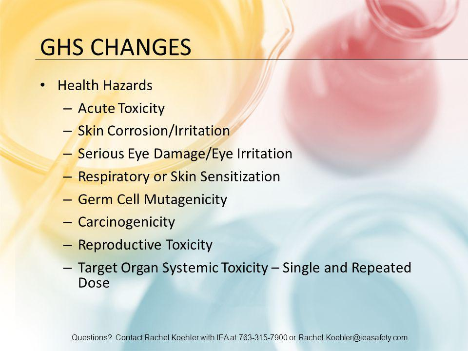 Questions? Contact Rachel Koehler with IEA at 763-315-7900 or Rachel.Koehler@ieasafety.com GHS CHANGES Health Hazards – Acute Toxicity – Skin Corrosio