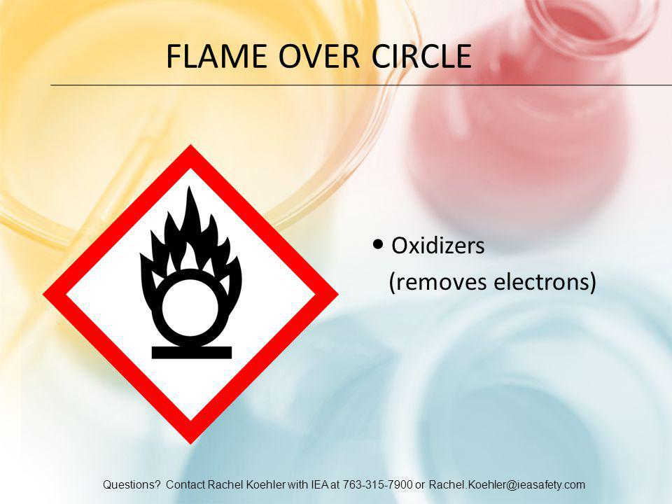 Questions? Contact Rachel Koehler with IEA at 763-315-7900 or Rachel.Koehler@ieasafety.com FLAME OVER CIRCLE Oxidizers (removes electrons)