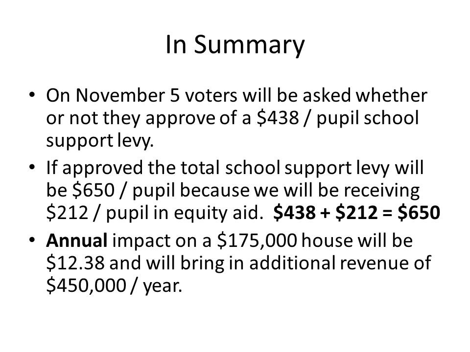In Summary On November 5 voters will be asked whether or not they approve of a $438 / pupil school support levy.