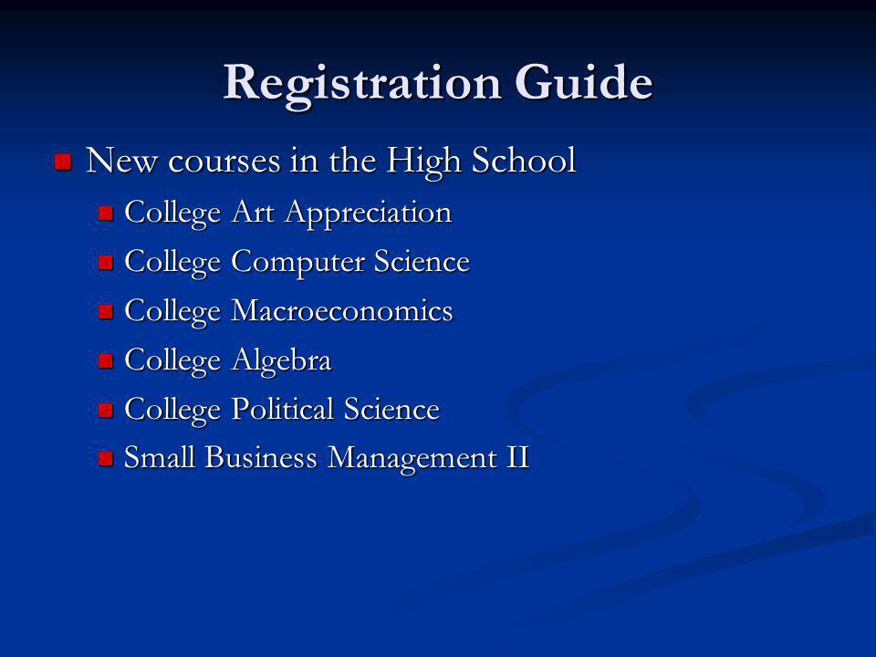 Registration Guide New courses in the High School New courses in the High School College Art Appreciation College Art Appreciation College Computer Science College Computer Science College Macroeconomics College Macroeconomics College Algebra College Algebra College Political Science College Political Science Small Business Management II Small Business Management II