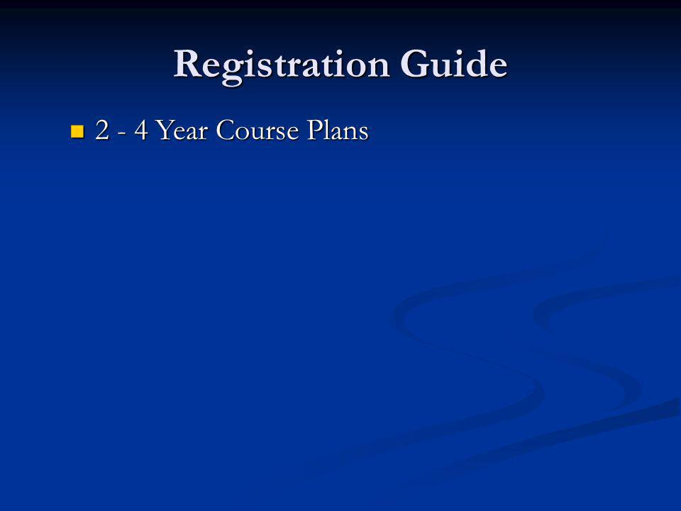 Registration Guide 2 - 4 Year Course Plans 2 - 4 Year Course Plans
