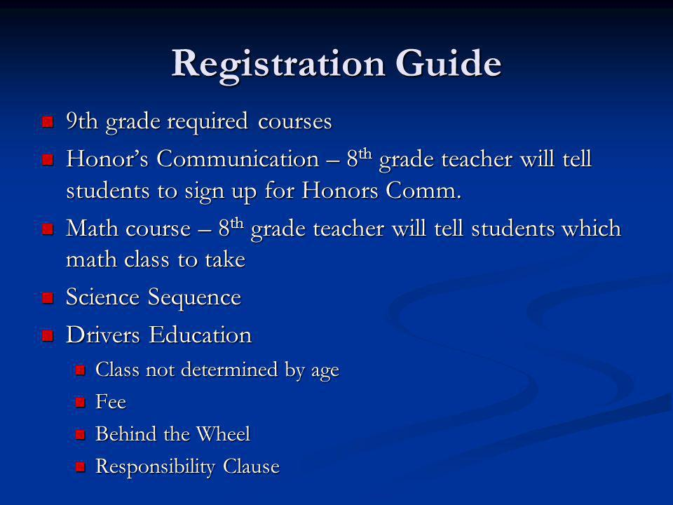 Registration Guide 9th grade required courses 9th grade required courses Honor's Communication – 8 th grade teacher will tell students to sign up for Honors Comm.