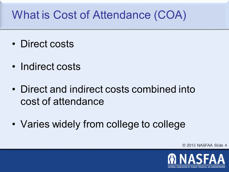 © 2013 NASFAA Slide 15 Common Federal Aid Programs Federal Pell Grant Teacher Education Assistance for College and Higher Education Grant Federal Supplemental Educational Opportunity Grant Federal Perkins Loan Federal Work-Study Subsidized and Unsubsidized Loans PLUS Loans
