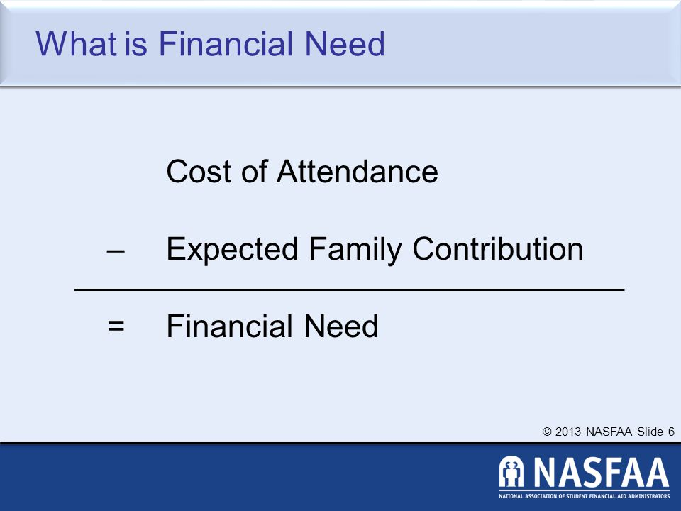 © 2013 NASFAA Slide 6 What is Financial Need Cost of Attendance – Expected Family Contribution = Financial Need