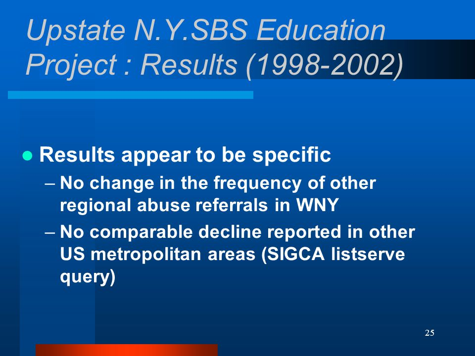25 Upstate N.Y.SBS Education Project : Results (1998-2002) Results appear to be specific –No change in the frequency of other regional abuse referrals in WNY –No comparable decline reported in other US metropolitan areas (SIGCA listserve query)