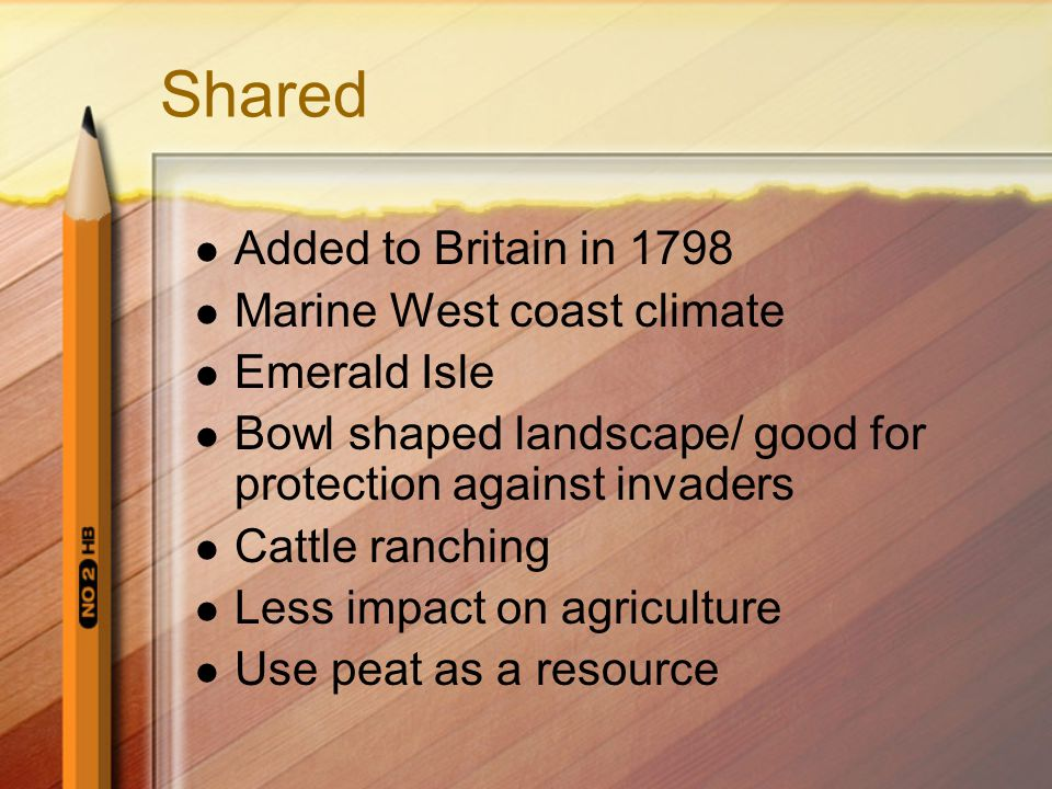 Shared Added to Britain in 1798 Marine West coast climate Emerald Isle Bowl shaped landscape/ good for protection against invaders Cattle ranching Less impact on agriculture Use peat as a resource