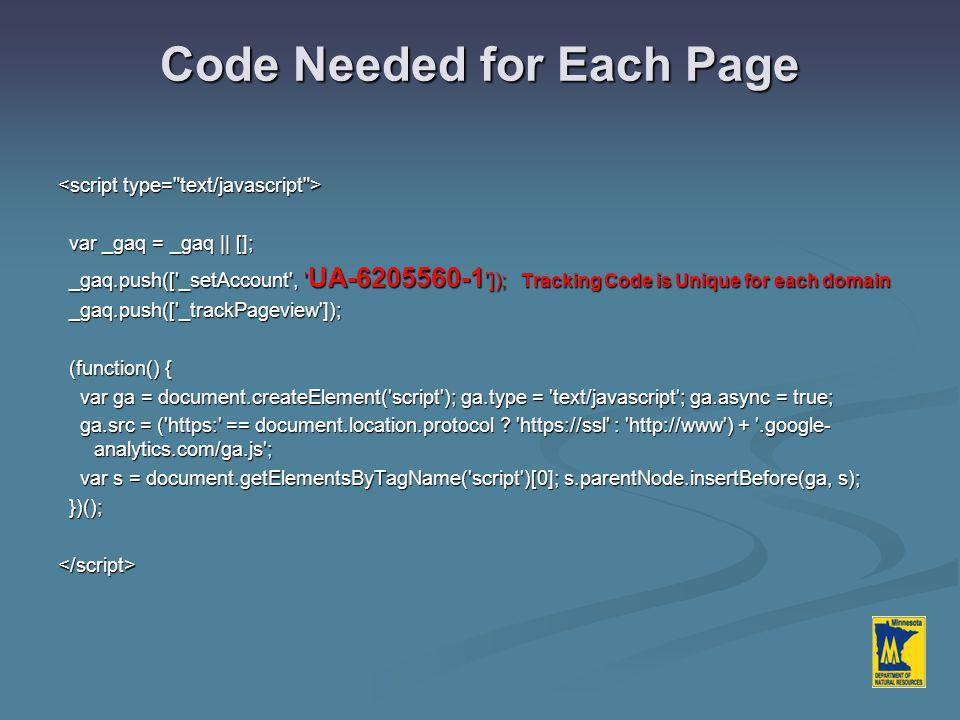 Code Needed for Each Page var _gaq = _gaq || []; var _gaq = _gaq || []; _gaq.push(['_setAccount', ' UA-6205560-1 ']); Tracking Code is Unique for each