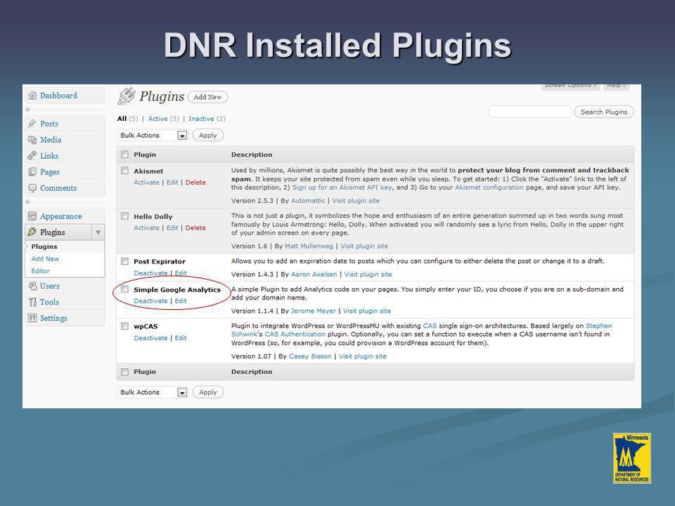 DNR Installed Plugins