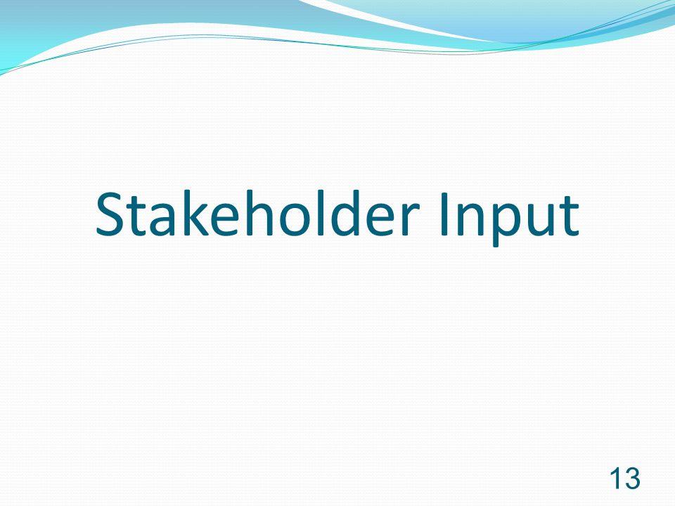 Stakeholder Input 13