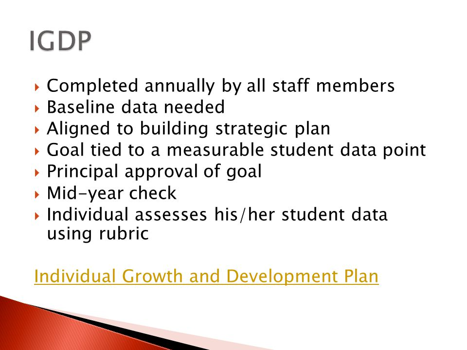  Completed annually by all staff members  Baseline data needed  Aligned to building strategic plan  Goal tied to a measurable student data point  Principal approval of goal  Mid-year check  Individual assesses his/her student data using rubric Individual Growth and Development Plan