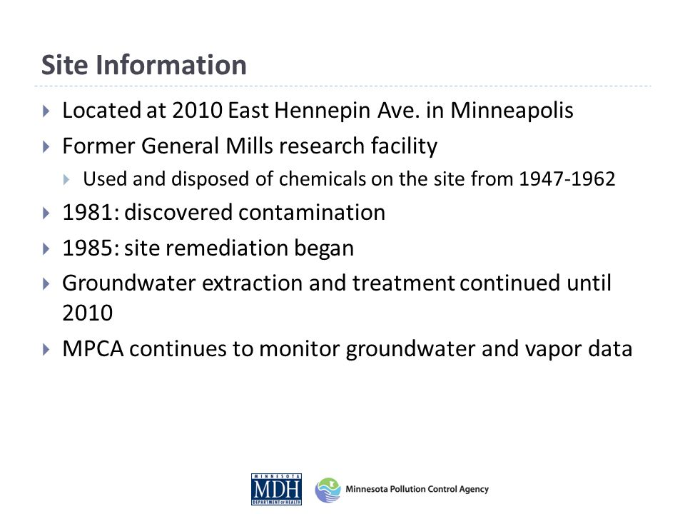 What we know Main contaminant of concern: trichloroethylene (TCE) from on-site disposal (1947-62) Current contamination status:  Groundwater: Contamination is above drinking water standards but poses no risk to drinking water supplies.