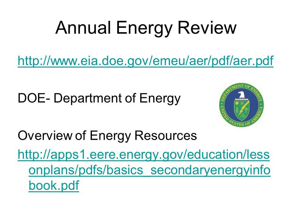 Annual Energy Review http://www.eia.doe.gov/emeu/aer/pdf/aer.pdf DOE- Department of Energy Overview of Energy Resources http://apps1.eere.energy.gov/education/less onplans/pdfs/basics_secondaryenergyinfo book.pdf