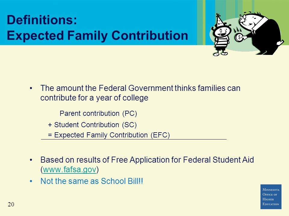 20 Definitions: Expected Family Contribution The amount the Federal Government thinks families can contribute for a year of college Parent contribution (PC) + Student Contribution (SC) = Expected Family Contribution (EFC) Based on results of Free Application for Federal Student Aid (www.fafsa.gov)www.fafsa.gov Not the same as School Bill!!