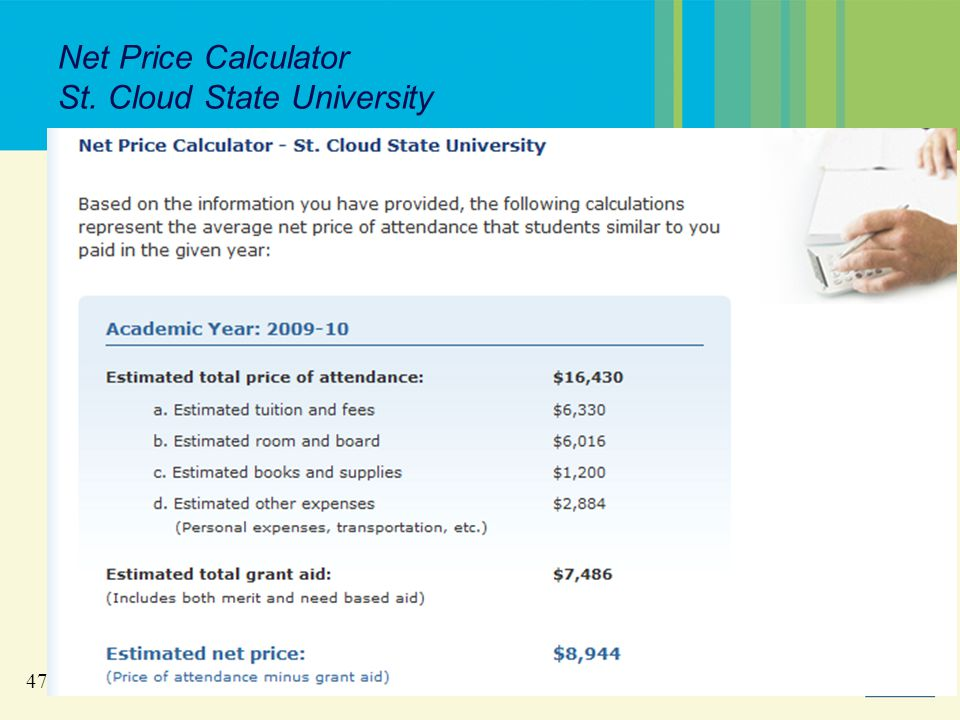 47 Net Price Calculator St. Cloud State University