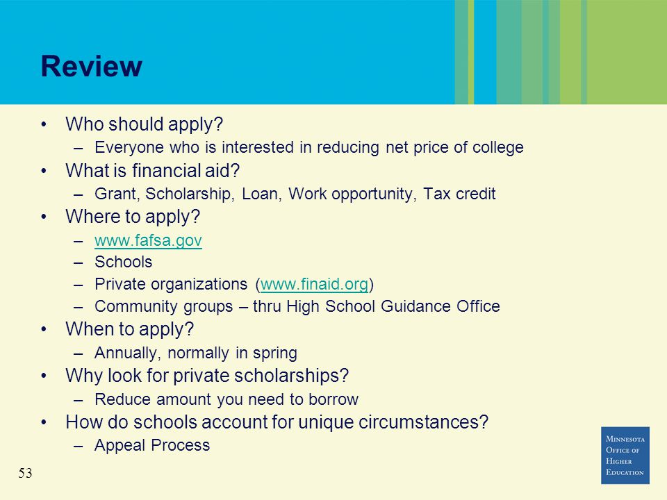 53 Review Who should apply.