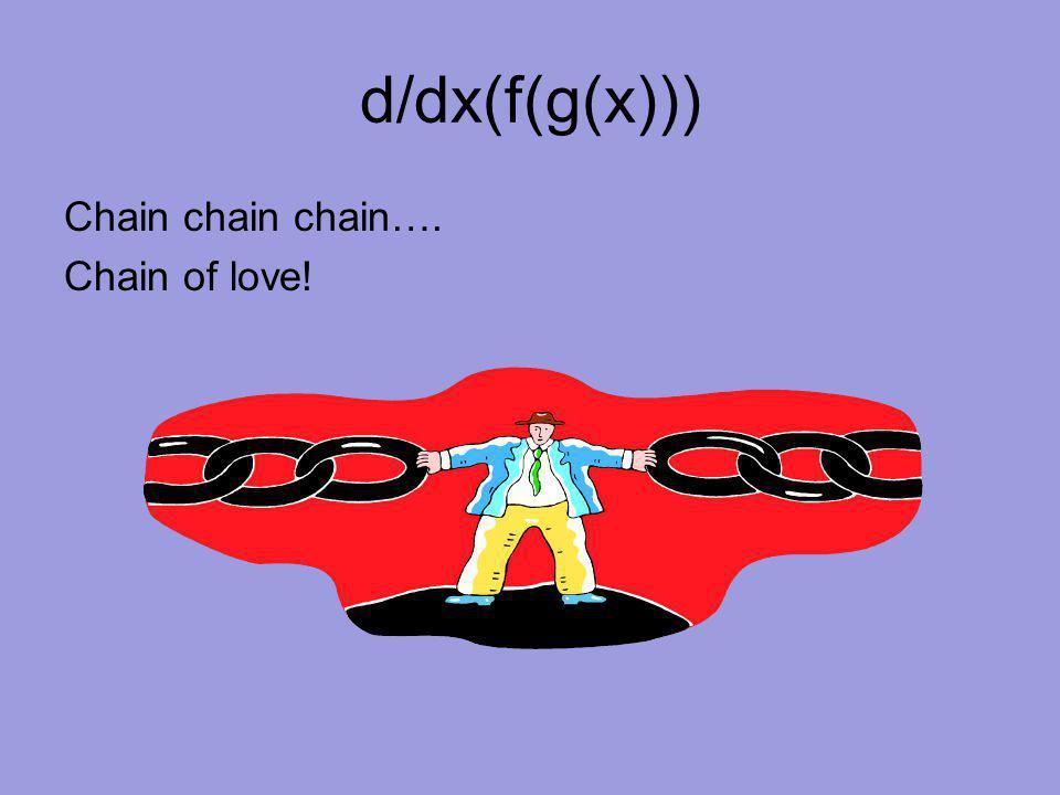 d/dx(f(g(x))) Chain chain chain…. Chain of love!